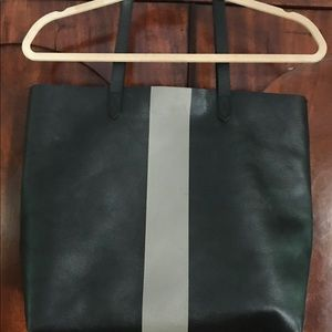 Madewell Paintstripe Grey Black LTHR Tote Bag